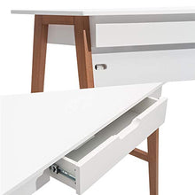 "Home Office Computer Desk with Drawer, 42"", White/Brown"