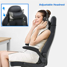 PC Gaming Chair Ergonomic Office Chair with Lumbar Support Flip Up Arms Headrest PU Leather Executive High Back for Women Men