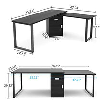 55 Inches Modern Corner Computer Desk Large Study Executive Office Desk Writing Table with Storage File Cabinet for Home Office (Black)