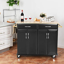 Kitchen Island Cart Utility Cabinet w/Rubber Wood Top, Large Storage Easy-Clean with Smooth Lockable Wheels Home Kitchen Carts (Black)