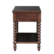 MPS136-0060 Beckett Accent Tables Antiqued Turn Legs Design, Mid-Century Modern One-Drawer Nightstand with Lower Storage Shelf, Morocco Brown