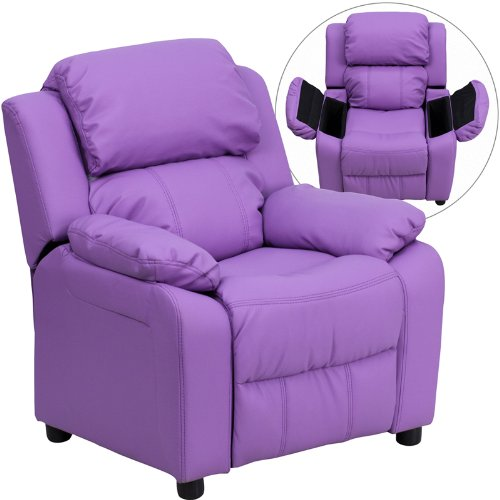 Heavily Padded Contemporary Lavender Vinyl Kids Recliner Storage Arms