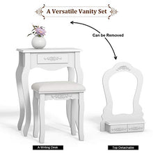 "Vanity Wood Makeup Dressing Table Stool Set Bedroom with Mirror (Black, 20.0"" Lx12.0 Wx53.5 H)"