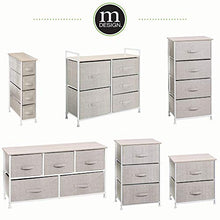 Night Stand Storage Tower - Sturdy Steel Frame, Wood Top, Easy Pull Fabric Bins - Organizer Unit Textured Print ,2 Drawers - Gray/White