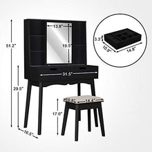 Table Set with Mirror and Makeup Organizer Dressing Table,2 Large Drawers with Sliding Rails,Storage Shelves,Cushioned Stool(Black)