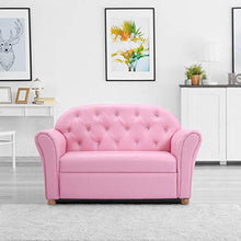 Kids Sofa, ASTM and CPSIA Certified, PU Leather Upholstered Couch, Sturdy Wood Construction, Armrest Chair for Preschool Children (37-Inch Pink Couch)