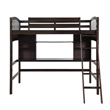 Twin Loft Bed with Desk Wood for Kids Teens Adults, Underneath Twin Bed Frame Space-Saving Design with Safety Rail No Box Spring Needed(Espresso)