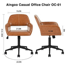 Office Chair Mid Back Swivel/Rolling/Tilting Accent Adjustable Computer Desk Armchair Brown PU Leather Reception Chair for Home Executive CH-03