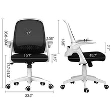 Modern Desk Comfort Swivel Home Office Task Chair with Flip-up Arms and Adjustable Height, White