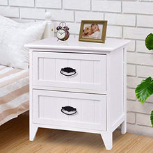 Nightstand Wooden with Drawers End Table, White