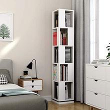 5-Tier Rotating Bookshelf, Modern Corner Bookcase for Home Office (White)
