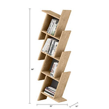 "Broadway 63"" Modern Floating Cubic Bookcase Asymmetrical Cube Bookshelf with Color Options (Oak)"