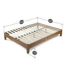 Camande 12 Inch Deluxe Wood Platform Bed / No Box Spring Needed / Wood Slat Support / Rustic Pine Finish, Twin
