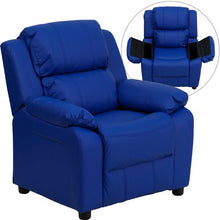 Deluxe Padded Contemporary Blue Vinyl Kids Recliner with Storage Arms