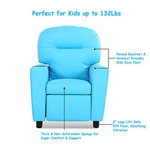 Contemporary Kids Recliner, PU Leather Lounge Furniture for Boys & Girls W/Cup Holder, Children Sofa Chair (Blue)