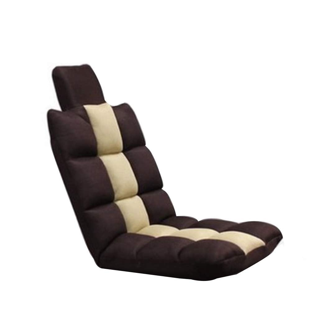 Lazy Sofa Chair Lounger, Child Floor Chair Position Cushioned Watching tv or Reading,Brown_120x50x12cm
