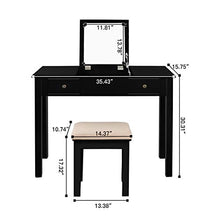 Table with Flip Top Mirror Makeup Dressing Table Writing Desk with Cushioning Makeup Stool Set, 2 Drawers 3 Removable Organizers Easy Assembly (Black)