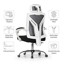 Ergonomic Office Recliner Chair with Lumbar Support - Height Adjustable Seat, Breathable Mesh Back ,Soft Foam Seat Cushion with Footrest, White