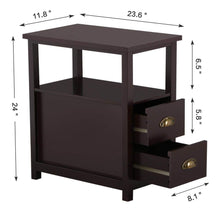 Chairside End Table with 2 Drawer and Shelf Narrow Nightstand for Living Room (Espresso, Rustic)