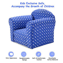 Kids Sofa Armrest Chair Couch Children Living Room Toddler Furniture (Star, Blue)