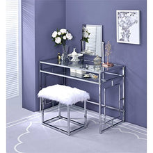 Vanity and Stool in White and Chrome