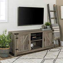 "Furniture White Oak Barn Door TV Stand 58"" for Flat Screen TV's Up to 65"" Entertainment Center"