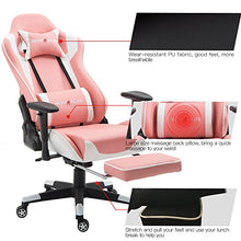 High-back Ergonomic Racing Seat with Massager Lumbar Support and Retractible Footrest PU Leather 90-180°,adjustment of backrest Thickening sponges