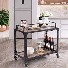 Bar Serving Cart 2-Tier, Antique Metal Frames, Wine Compartment Rack, with Universal Caster Wheels, for Commercial or Home Use (Wood)