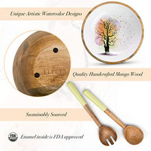Wooden Salad Bowl Set with Servers - Large 12 Inch Round Mango Wood Serving Bowl with Spoons,Natural Mango Wood Serving Bowl Set