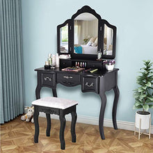 Vanity Set with Mirror & Cushioned Stool Dressing Table Vanity Makeup Table 5 Drawers 2 Dividers Movable Organizers (90 x 40 x 142 cm, Black)