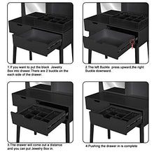 Vanity Desk Set with Moving Mirror & Cushioned Stool Dressing Table Vanity Makeup Table, 2 Sliding Drawers,5 Storage Shelves (Black)