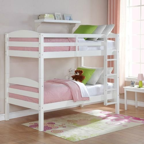 Twin Over Twin Wood Bunk Bed (White)