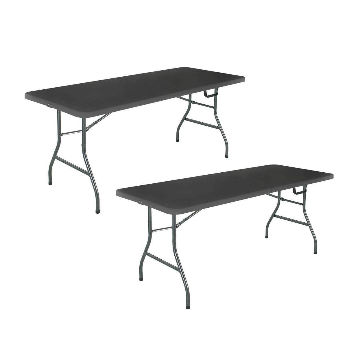 Camande 14678BLK1 Deluxe 6 Foot x 30 inch Half Blow Molded Folding Table, Black, 72