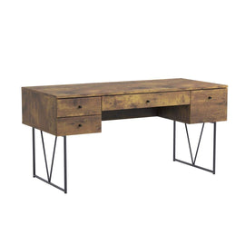 4-Drawer Writing Desk Antique Nutmeg and Black