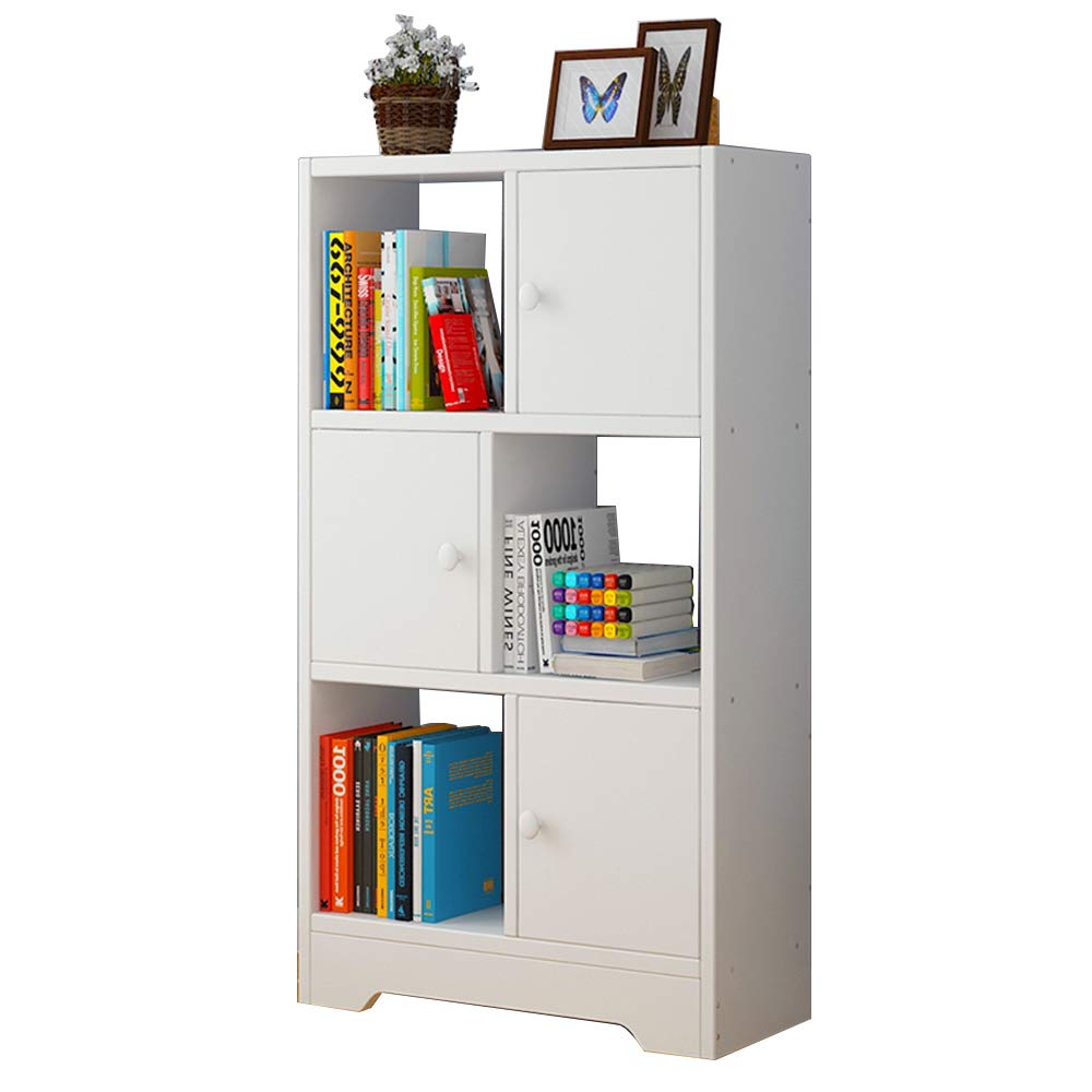 Cube Storage Bookcase White Wooden Display Shelf Organizer Home Office with 3 Doors 602491cm
