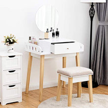 Vanity Table Set with Height Adjustable Round Mirror, with Cushioned Stool, Side Storage and Large Drawer, Gift Vanities  (White)