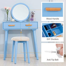 Table Set w/Round Mirror Wall Mounted,Makeup Vanity with Cushioned Stool Wood Dressing Table Two Drawers Kids Girls Women Bedroom Furniture (Blue)