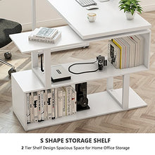 Modern L-Shaped Desk, 55 inch Rotating Desk Corner Computer Desk Study Writing Table Workstation with Storage Shelves for Home Office, White
