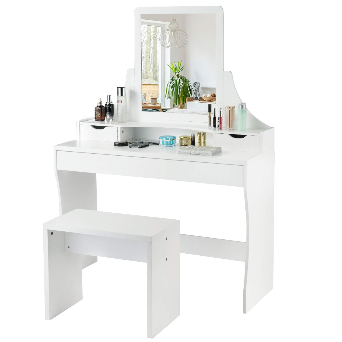 Vanity Set with Mirror & Stool, Makeup Dressing Table with 1 Large Sliding Drawer & 2 Small Drawers, for Girls Women Bedroom (White)