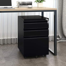 Camande DEVAISE 3 Drawer Mobile File Cabinet with Lock, Metal Filing Cabinet Legal/Letter Size, Fully Assembled, Black