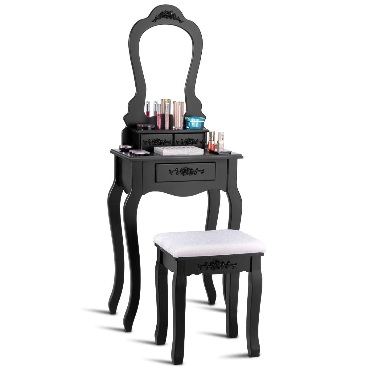 Vanity Wood Makeup Dressing Table Stool Set Bedroom with Mirror (Black, 20.0