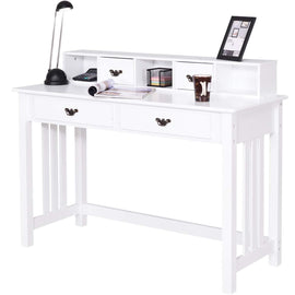 Writing Desk with 4 Drawers 2-Tier Mission Home Office Computer Desk, White