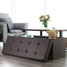 43 Inches Folding Storage Ottoman Bench, Storage Chest Footrest Padded Seat, Faux Leather, Black ULSF701