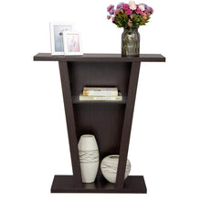 V Console Sofa Entry Table with Two Shelves Hall Furnishings, Espresso