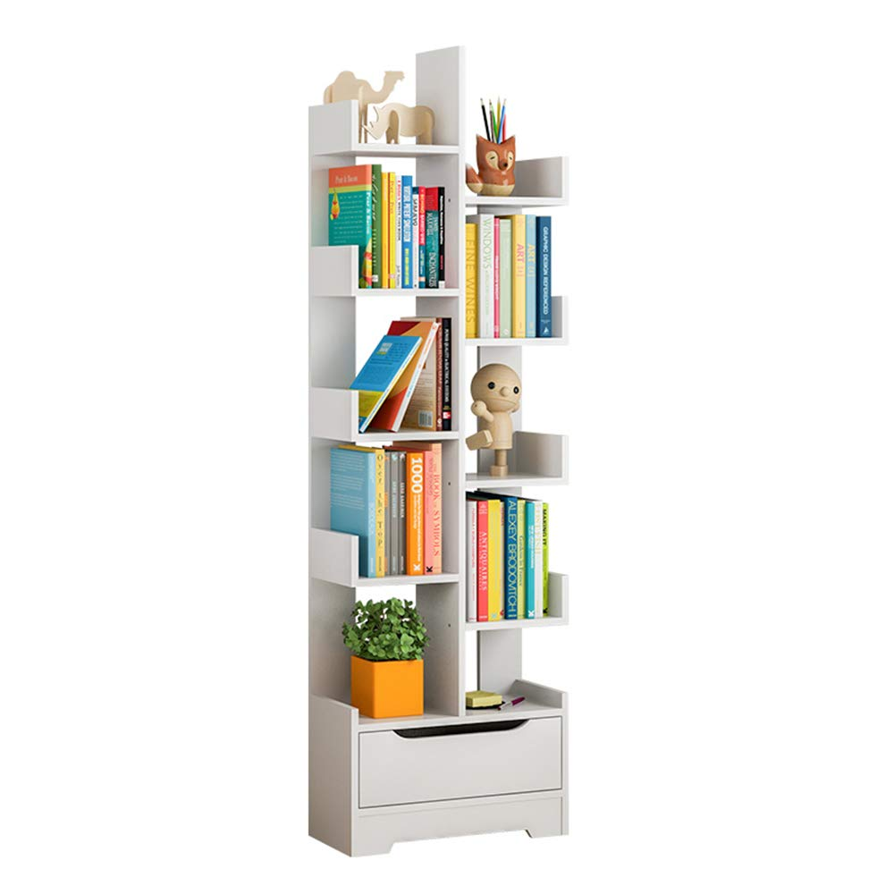 Layer Bookshelf with Drawer Shelves Living Room Bedroom Display Stand Bookcase (Color : White)