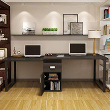 Rotating L-Shaped Computer Desk, 55 Inches Modern Corner Computer Desk Large Study with Storage File Cabinet for Home Office (White)