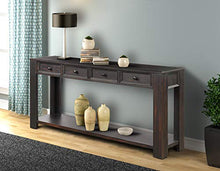 "Console Table for Entryway Hallway Easy Assembly 64"" Long Sofa Table with Drawers and Bottom Shelf (64"", Distressed Black)"