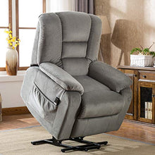 Large Power Lift and Recliner Chair Soft Fabric Upholstery Reclining Chair Living Room Chairs Heavy Duty and Safety (Grey)