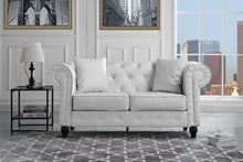 Classic Scroll Arm Tufted Bonded Leather Chesterfield 2 Seater Loveseat (White)
