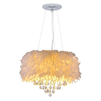 White Feather Crystal Chandelier 4-Light Pendant Light
